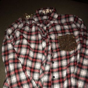 Tops - Plaid Flannel with Gold Accents